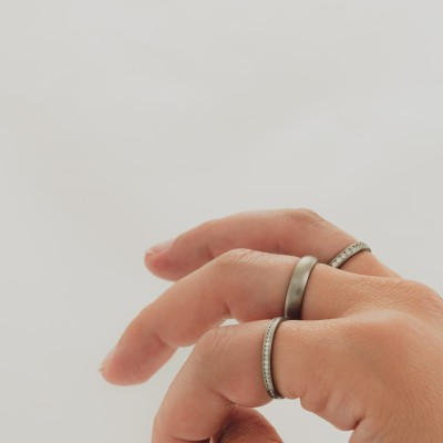 Just Dome Medium Titanium Ring